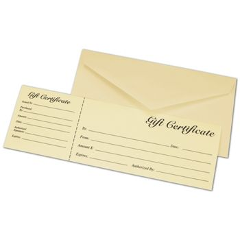 Ivory Gift Certificates w/ Envelopes, 9 3/8 x 3 1/8""