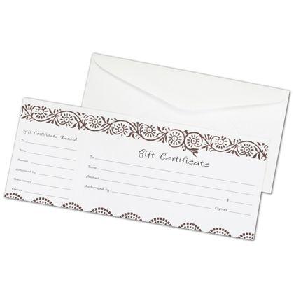 """Darjeeling Gift Certificates, 3 3/4 x 9 1/4"""""""