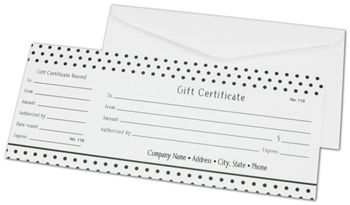 Black Dots Gift Certificates, 3 3/4 x 9 1/4