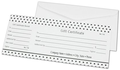 Black Dots Gift Certificates, 3 3/4 x 9 1/4""