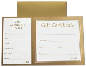 Metallic Gold Square Gift Certificates w/ Folder, 8 x 5