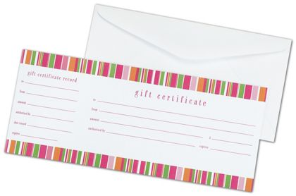 Lilly Stripe Gift Certificates, 3 3/4 x 9 1/4""