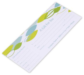 Leaf Stream Gift Certificates, 9 1/4 x 3 3/4