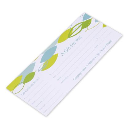 Leaf Stream Gift Certificates, 9 1/4 x 3 3/4""