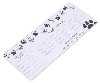 Paws Gift Certificates, 9 1/4 x 3 3/4