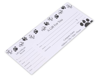 Paws Gift Certificates, 9 1/4 x 3 3/4""