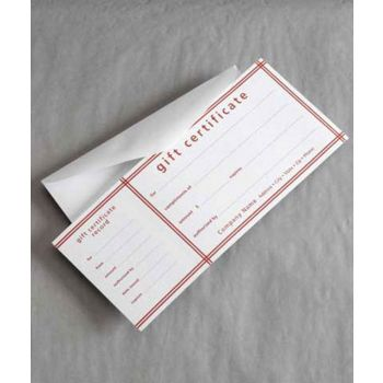 Red Stripe Picnic Stripe Gift Certificates, 3 3/4 x 9 1/4