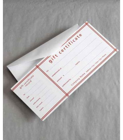 Red Stripe Picnic Stripe Gift Certificates, 3 3/4 x 9 1/4""