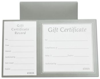 Metallic Silver Square Gift Certificates w/ Folder, 8 x 5