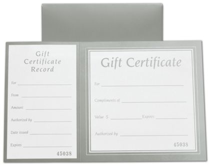 Metallic Silver Square Gift Certificates w/ Folder, 8 x 5""