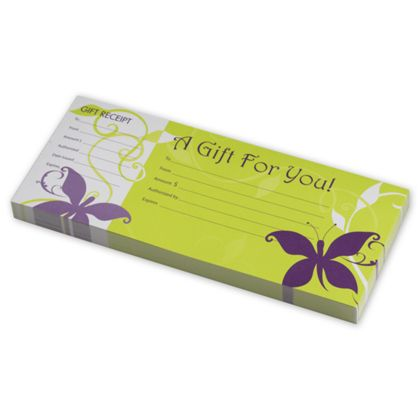 Vines & Butterflies Gift Certificates w/ Envelopes