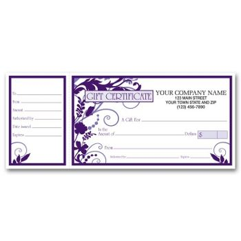 Wisteria Gift Certificates w/ Envelopes, 9 1/4 x 3 3/4