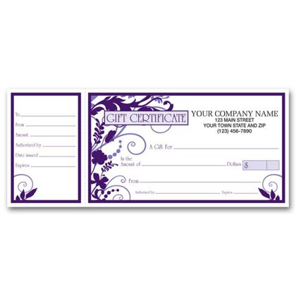 """Wisteria Gift Certificates w/ Envelopes, 9 1/4 x 3 3/4"""""""