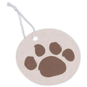 Paws on Oatmeal Gift Tags, Circle, 2 1/2