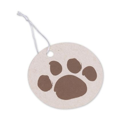Paws on Oatmeal Gift Tags, Circle, 2 1/2""