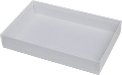 Clear Top Boxes w/ White Base, 8 5/8 x 5 5/8 x 1 3/8""