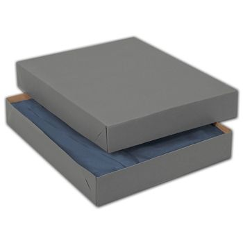 Grey Two-Piece Apparel Boxes, 11 1/2 x 8 1/2 x 1 5/8