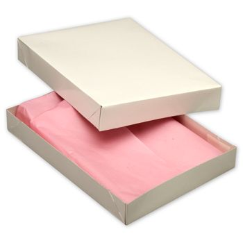 White Two-Piece Apparel Boxes, 11 1/2 x 8 1/2 x 1 5/8
