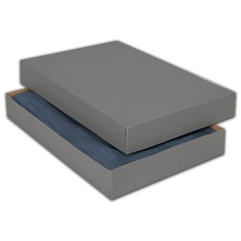 Grey Two-Piece Apparel Boxes, 15 x 9 1/2 x 2