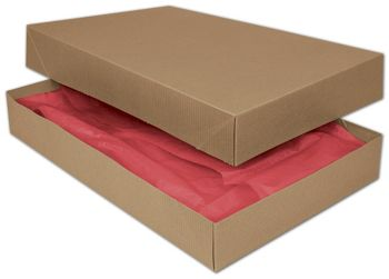 Kraft Two-Piece Apparel Boxes, 17 x 11 x 2 1/2