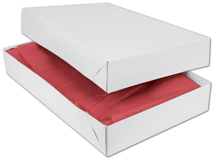 White Two-Piece Apparel Boxes, 19 x 12 x 3""