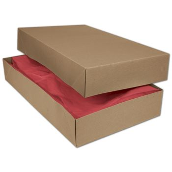 Kraft Two-Piece Apparel Boxes, 24 x 14 x 4