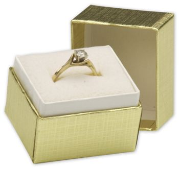 Gold Linen Jewelry Boxes, 1 1/2 x 1 1/4 x 1 1/2