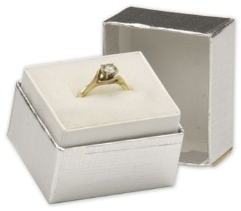 Silver Linen Jewelry Boxes, 1 1/2 x 1 1/4 x 1 1/2