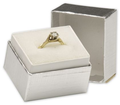 Silver Linen Jewelry Boxes, 1 1/2 x 1 1/4 x 1 1/2""