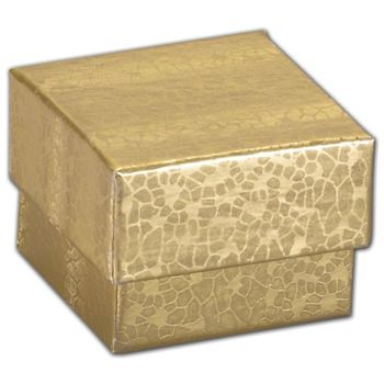 Gold Foil Embossed Jewelry Boxes, 1 5/8 x 1 5/8 x 1 1/4