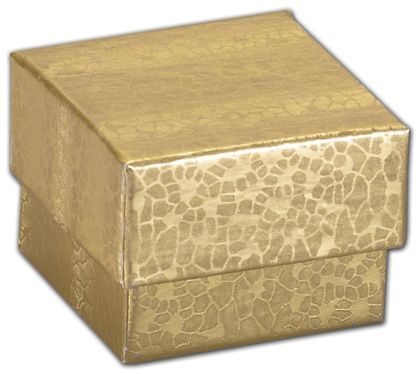 """Gold Foil Embossed Jewelry Boxes, 1 5/8 x 1 5/8 x 1 1/4"""""""