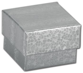 Silver Foil Embossed Jewelry Boxes, 1 5/8 x 1 5/8 x 1 1/4