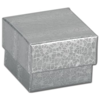 Silver Foil Embossed Jewelry Boxes, 1 5/8 x 1 5/8 x 1 1/4""