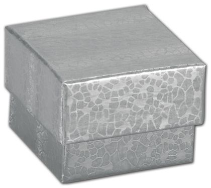 """Silver Foil Embossed Jewelry Boxes, 1 5/8 x 1 5/8 x 1 1/4"""""""