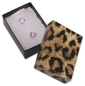 Leopard Jewelry Boxes, 2 7/16 x 1 5/8 x 13/16