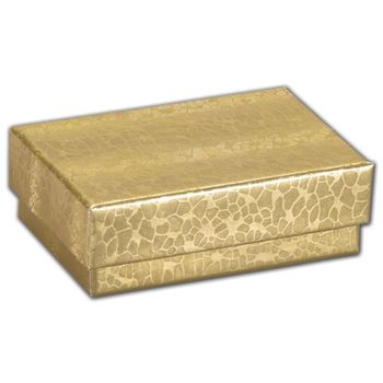 Gold Foil Embossed Jewelry Boxes, 2 x 1 1/2 x 5/8