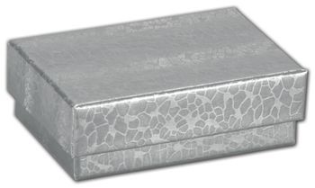 Silver Foil Embossed Jewelry Boxes, 2 x 1 1/2 x 5/8