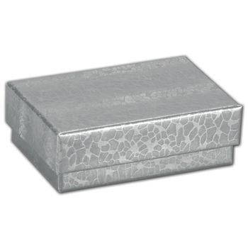 Silver Foil Embossed Jewelry Boxes, 2 x 1 1/2 x 5/8""