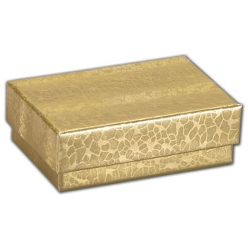 Gold Foil Embossed Jewelry Boxes, 2 7/16 x 1 5/8 x 13/16