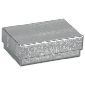 Silver Foil Embossed Jewelry Boxes, 2 7/16x1 5/8x13/16