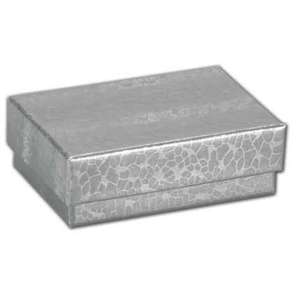 Silver Foil Embossed Jewelry Boxes, 2 7/16x1 5/8x13/16""