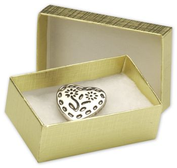 Gold Linen Jewelry Boxes, 2 1/2 x 1 1/2 x 7/8