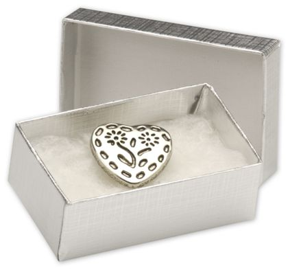Silver Linen Jewelry Boxes, 2 1/2 x 1 1/2 x 7/8""