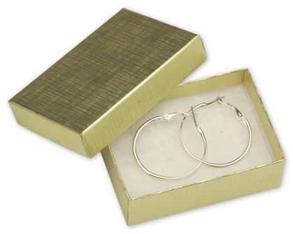 """Gold Linen Jewelry Boxes, 3 1/16 x 2 1/8 x 1"""""""