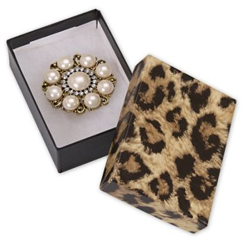 Leopard Jewelry Boxes, 3 x 2 1/8 x 1