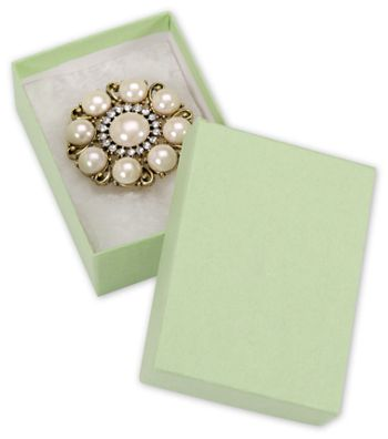 Light Green Jewelry Boxes, 3 x 2 1/8 x 1