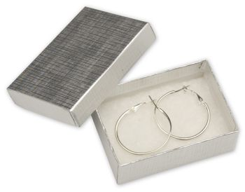 Silver Linen Jewelry Boxes, 3 1/16 x 2 1/8 x 1