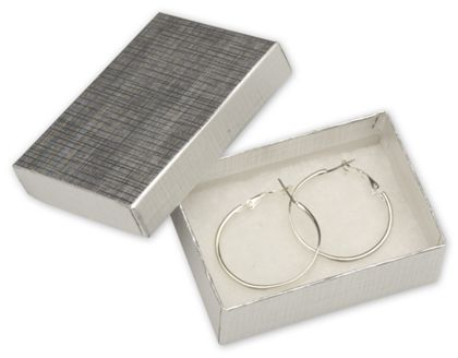 """Silver Linen Jewelry Boxes, 3 1/16 x 2 1/8 x 1"""""""