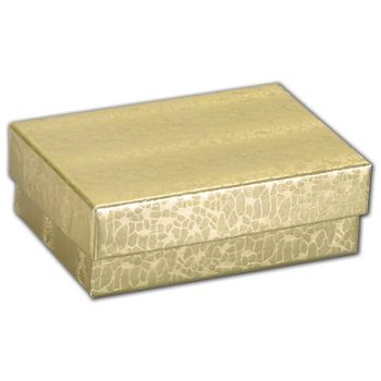 Gold Foil Embossed Jewelry Boxes, 3 x 2 1/8 x 1