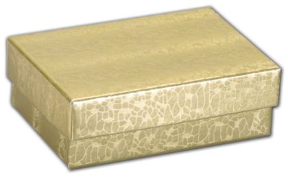 """Gold Foil Embossed Jewelry Boxes, 3 x 2 1/8 x 1"""""""